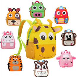 Scuola dello zaino dello zaino online-10 bambini di stile 3D Cute Animal Design Zaino Toddler Kid Neoprene School Bags Kindergarten Cartoon Confortevole borsa giraffa scimmia gufo
