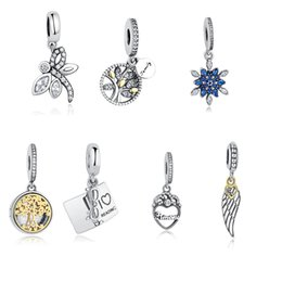 Wholesale Silver Tree Pendants - BELAWANG Original 925 Silver Mother Heart Beads Fits Pandora Charms Necklace&Bracelets Jewelry Making Tree of Life Heart Shape Pendant