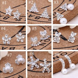 Wholesale New Style Fashion Jewelry - 62pairs Lot, 45 styles Korean Creative Fashion diamond earrings New Pearl Stud Earrings Hot selling accessories jewelry wholesale earrings