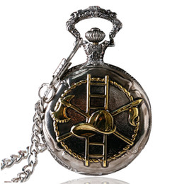 Wholesale Pocket Watch Chain Fob Silver - Wholesale-Retro Dark Silver & Golden Firefighting Theme Quartz Fob Pocket Watch With Chain Best Gift To Firefighter