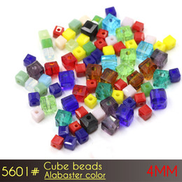 Wholesale Red Flag Design - 4mm Alabaster Color Glass Cube Beads A5601 100pcs set crystal chandelier beads for latest design beads necklace