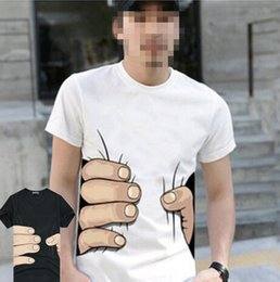 Wholesale Spoof Grab Shirts - Wholesale- New 2016 Men Brand Casual Breathable O Neck Printing 3D Personality Spoof Grab You Cotton T-shirt Tshirt Tops Funny Shirt