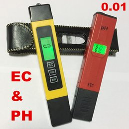 Wholesale Hydroponic Pen Ph Tester - Wholesale- PH Meter LCD Digital 0.01 + EC tds Tester Water PPM Filter Hydroponic Pool Pen aquarium with backlight