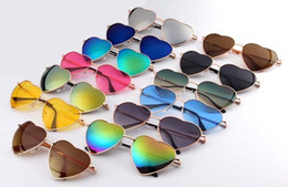 Wholesale Heart Glasses Frames - Heart Shaped Sunglasses WOMEN metal Reflective LENES Fashion sun GLASSES men and women Mirror oculos de sol NEW for party gifts