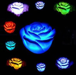 Wholesale Led Floating Candles - New Romantic Changing LED Floating Rose Flower Candle Night Light Wedding Party Decoration 600pcs lot CCA7500 1000pcs