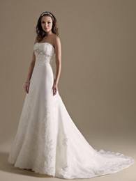 Wholesale Strapless Wedding Reception Dresses - High Quality Sweetheart Lace A-Line Wedding Dresses Strapless Applique Chapel Train Reception Bridal Gowns Custom Made A:134