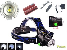 Wholesale Max Lumen Led Light - Head Switch Button Max 2000 Lumen XM-L XML T6 LED Headlamp Zoomable Headlight Head Light Lamp +2x 18650 5000mAh Battery + AC Charger
