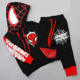 Wholesale Hooded Spiderman - Children Boys Clothing set Baby Boy Spiderman Sports Suits 2-6 Years Kids baby 2pcs Spring Autumn Clothes Tracksuits