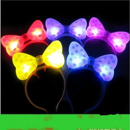 Wholesale Butterfly Clip Plastic - New Arrival Christmas LED Butterfly Knot Hair Clip Pins Headbands Light Up Prom Dress Up Rave Toy for Halloween Xmas Party Supplies