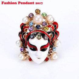 Wholesale Indian Masks - Vintage Chinese Style Traditional Peking Opera Rhinestone Rings For Women Gold Enamel Ficial Masks Ring Fine Jewelry