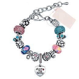 Wholesale Red Crystal Bangles - Fashion Cute Pink Charm Bracelet DIY Heart Pendant Crystal Glass Beads Charm Bracelet & Bangle For Women