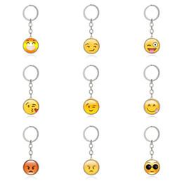Emoticon di alta qualità Catena Chiave a forma di ciondolo in vetro gioiello con gemme dorate Collana portachiavi in vetro metallo KR205 mix ordine 20 pezzi molto cheap keys smile da chiavi sorridono fornitori