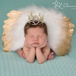 Wholesale Baby Wings Photo - Baby Angel golden feather wings +leaves headbands sets newborn kids photograhy photo accessories baby brithday gift R0482
