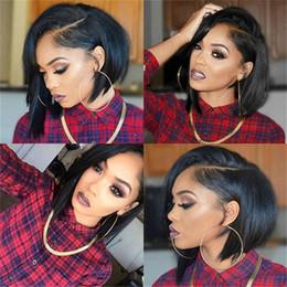 Wholesale Woman Beautiful Short Wigs - 130% density bob beautiful wigs front lace wigs full lace short human hair wigs for black women