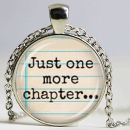 Wholesale Charmed One Necklace - Just one more chapter...' Glass Pendant Necklace Fashion DIY Handmade Jewelry Charm Trendy Book Lover Bibliophile Gift