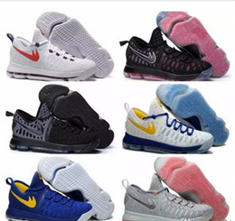 Wholesale Cool Leather Mens Boots - 2017 Kevin Durant KD 9 Mens Basketball Shoes,Oreo Cool Grey Warriors Away White Gold Home Blue Yellow Atheletic Men Boots Sport Sneakers