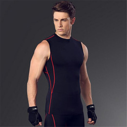 Wholesale Men Sexy Cloths - Wholesale- High quality quick dry bodybuilding compression tank top sleeveless t shirt men fitness workout tank tops singlet exercise cloth