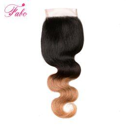 2019 новые пароли fabc ombre бразильские волосы #1b/4/27 3 тон блондинка 4x4 кружева закрытие свободный средний три части 100% человеческих волос волна тела 1 шт 10-20 дюймов