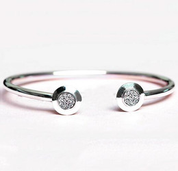 Wholesale Heart 925 Bracelet - Authentic 925 Sterling Silver Bangle Pan Signature With Crystal Open Bracelet Bangle Fit For Pandora Style Bead Charm DIY Jewelry