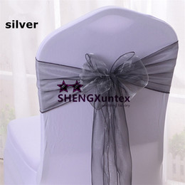 Wholesale Silver Wedding Banquet Chair Covers - Free Shipping Silver Color Organza Chair Sash \ Chair Bow For Wedding Spandex Chair Cover