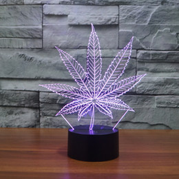 Wholesale Leaf Led Lamp - Free Shipping New 3D LED Table Lamps Leaf Night Lamp LED NightLight Acrylic Colorful Gradient Atmosphere Lamp Best Gifts promotion