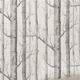 Wholesale Wood Mouldings Wholesale - Wholesale-Birch Tree Pattern Non-woven Woods Wallpaper Roll Modern Designer Wallcovering Simple Black And White Wallpaper For Living Room