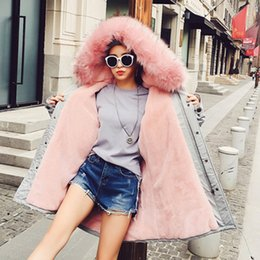 Wholesale Lined Coats Women - Winter Women Coat Fur Pink Color Neck Women Clothing Synthetic Fur Parka Hooded Long Coat New 2018 Thick Cotton Women's Outwear Clothing 113