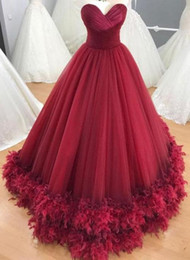 Wholesale Sweet 16 Feather Gown - Feather Quinceanera Dresses Ball Gown Burgundy 2018 Sweet 16 Dresses Sweet-heart Neck Pleats Gowns Plus Size Vestidos De 15 Hollow Back