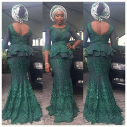 tulle sleeve aso ebi dresses Coupons - Arabic Lace Prom Dresses Mermaid Sheer Neck African Illusion 3 4 Sleeves Prom Dress Plus Size Aso Ebi Peplum Formal Party Gowns