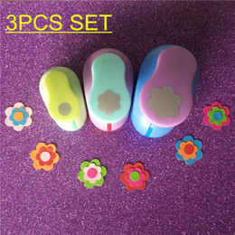 Wholesale Craft Foam Circles - Wholesale- Free Shipping 3PCS Circle and Petal Shaped craft punch set School Scrapbook Gifts DIY Paper Cutter EVA foam Flowers Hole Punches