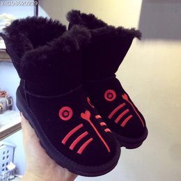 Wholesale Cute Boots For Baby Girls - Child Snow Boots Cute Cat Cartoon Animal baby warm Shoe for Boys Girls Warm Snow Boots Kids Warm Winter Fur Toddler Boot Size 26-30