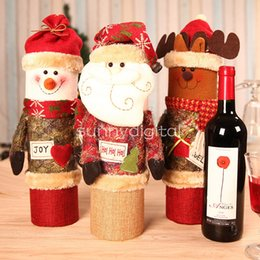 Wholesale Christmas Wine Gift Box - Christmas decorations Santa Claus red wine gift box snowman red wine bottle sets high quality creative gift