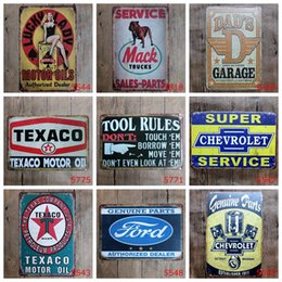 Wholesale Restaurant Oil - hot new fashion 20*30cm motor oil plate garage Tin Sign Coffee Shop Bar Restaurant Wall Art decoration Bar Metal Paintings Tin Sign