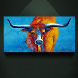 Pintura de lienzo de cuernos largos online-Deslumbre color Longhorn cuadro de la pintura impresión de arte abstracto en el lienzo, Animal moderno lienzo poster pintura impresiones, pared Home decor poster