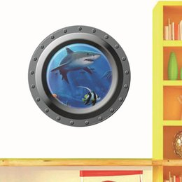Wholesale Removeable Vinyl - * Cartoon Underwater Shark Aquatic Wall Stickers For Home Decor Kids Room Living Room Bedroom Removeable Wall Decal Wallpaper