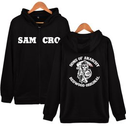 Wholesale Red Skull Sweater - 2017 Hot Sales Sports Sweater SOA Sons of annrcy samcro alphabet skull prints casual long-sleeved zipper cardigan Hoodies Sweatshirts
