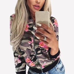 Wholesale Camouflage Womens Jackets - Wholesale- 2016 New Autumn Bomber Jacket Fashion Womens Casual Stand Collar Long Sleeve Zipper Flower Print Basic Camouflage Coat Outwear