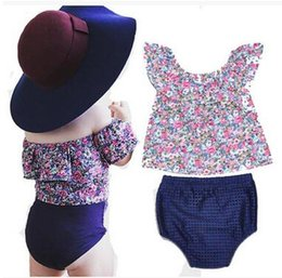 Wholesale Two Cute Babies - Kid's Clothing Sets Off Shoulder T-Shirt+PP Shorts Baby Girl Two-Piece Suit Summer Sweet Floral Printed Ruffled Collar Tops High Quality
