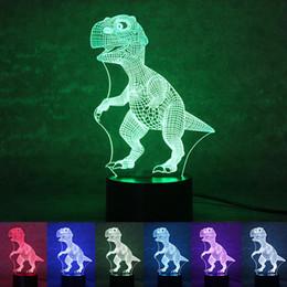Wholesale Dinosaur Light Lamp - Wholesale- Novelty Touch Switch Desk Light Night Light Colorful USB LED Table Acrylic Lamp 3D Illusion Dinosaur For Home Decor