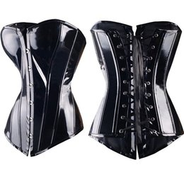 Wholesale Sexy Leather Lingerie Corset - Sexy Black Steampunk Faux leather PVC Lace up BONED Gothic Corsets and Bustiers Lingerie Slimming Body Shaper top