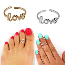 Позолоченные кольца для ног онлайн-Симпатичные любовь кольца знак мира Toe кольцо свободный размер серебряный позолоченный ног ювелирные изделия партии подарки оптом 2017 Горячий Новый
