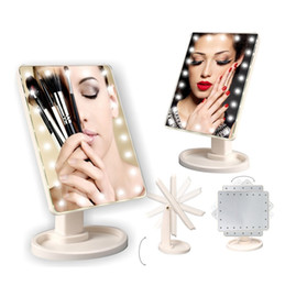Wholesale Make Up Pocket - 360 Degree Rotation Touch Screen Make Up LED Mirror Cosmetic Folding Portable Compact Pocket With 22 LED Lights Makeup Mirror X064-1