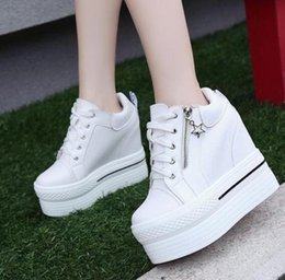 Wholesale High Wedge Hidden Heels - Womens High Hidden Wedge Platform Muffins Lace Up Round Toe Casual Shoes High Heel 11CM Sneakers WX11775