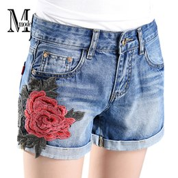 Wholesale Summer Jean Shorts Womens - Wholesale- Flowers Denim Shorts With Embroidery High Waist Jean Shorts Women Summer 2017 Fashion Vintage Casual Floral Shorts Jeans Womens