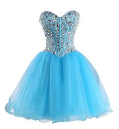 Короткие синие платья из горного хрусталя онлайн-Синий Принцесса Пром Платья 2017 Vestido Formatura Curto Блестящие Стразы Бисером Короткие Homecoming Бальные Платья Быстрая Доставка