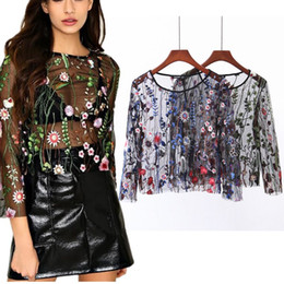 Wholesale Womens Black Shirt Embroidery - Womens Sexy T Shirts 2017 Blouse Fashion Long Sleeve Black Flower Embroidery Mesh Tee Shirt Femme See Through Women Tops
