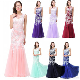 Wholesale Designer Evening Party Prom Dresses - 2017 New Designer Light Pink Cheap In Stock Mermaid Prom Dresses Sleeveless Lace Applique Sexy Back Evening Party Gowns CPS360