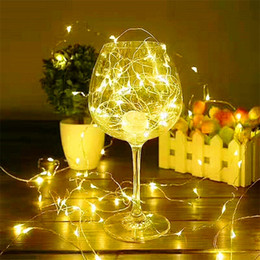 Wholesale Used Curtains - 2M 20LEDS holiday lighting 3 * AA Battery power operated led copper wire string lights Christmas Party Wedding New Year Use