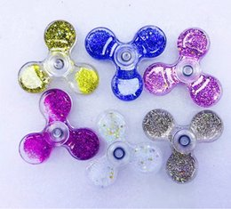 Wholesale Newest Science - 2017 Newest HandSpinner Glitter Quicksand Liquid Plastic PC Bearing Fidget Spinner Fingertip vision Gyro Cyclone Decompression Anxiety Toys