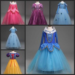 white cotton prom dresses Promo Codes - New baby girls snow white Beauty Princess Dress Aurora Princess Dress Children boutiques Dresses Christmas Dress kids prom tutu skirts
